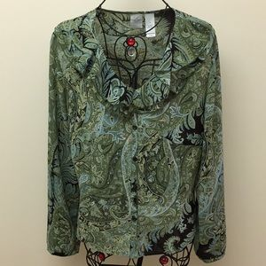 Blouse Sheer Green Black Long Sleeve Button Up 14